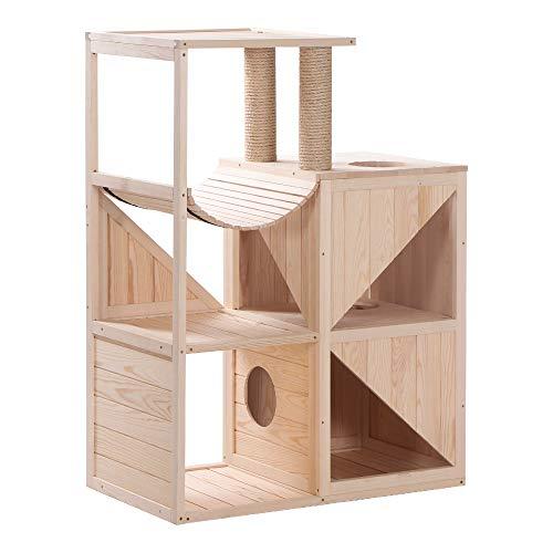 Lovupet Katzenmöbel Kratzmöbel Kratzbaum Katzenhaus Spielhaus aus Holz 0505(Natur)