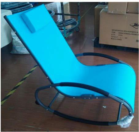 Amicasa. Sedia a Dondolo in Acciaio 113 x 62 x 58 cm Colore Azzurro