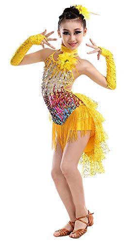 Happy Cherry Mädchen Kleid Latin Tanzkleid Pailletten Gesellschaftstanz Kleider Set Kinder Dancewear-Gelb-150cm