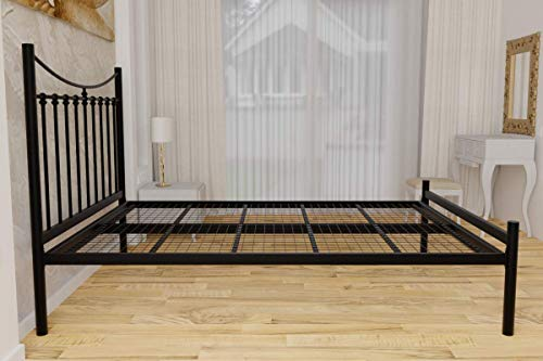 JKN Brixton Wrought Iron Bed Frame Low Foot End (Black, King)