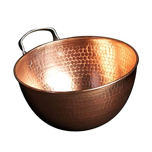 Sertodo Copper Mixing Bowl, 4 quart capacity, 10 inch diameter, Ergonomic Stainless Steel handle, Pure Copper, Heavy Gauge, Hand Hammered