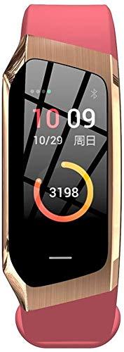 E18 Smart-Armband Herzfrequenz-Test Blut Pressure Test Sport-Armband-Farbbildschirm Übung Spur Schritt Wasserdicht aycpg (Color : Gold)