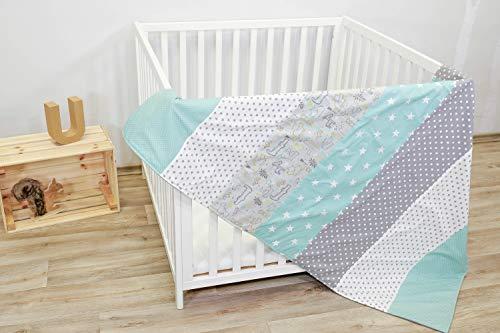 Colcha para bebé de ULLENBOOM ® con safari menta (manta de arrullo...