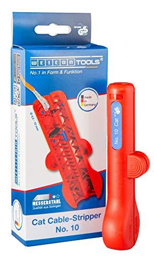WEICON 52000010 Cable-Stripper No.10   Netzwerkkabel Abisolierer   Hochwertiger praktischer Entmanteler für Datenkabel Netzwerkleitungen Cat 5 6 7 Kabel, Rot, 0, 069Kg