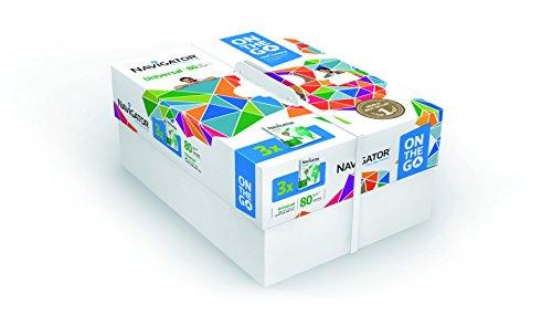Navigator Universal Carta Premium per ufficio, Formato A4, 80 gr, Confezione da 3 risme da 500 Fogli
