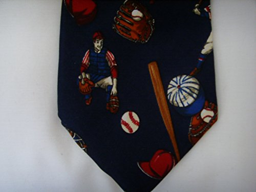 Mens Tie Necktie Neckwear Clothing Navy Blue Baseball ; 100% Silk