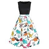 TOTOD Dress for Women Vintage O-Neck Dinosaur Printed Tunic Dresses Ladies High Waisted Sleeveless A-line Tank Dress Black
