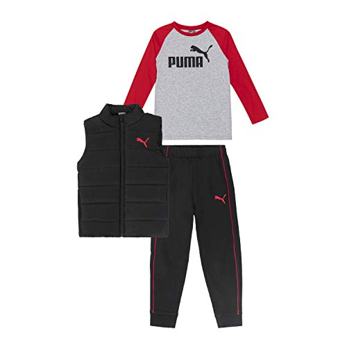 PUMA boys Set 3 Piece Vest Jogger Longsleeve T Shirt, Black, Small US
