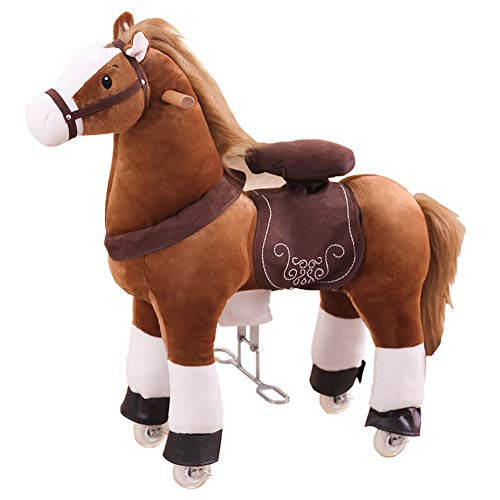 FDSAG Brownish Yellow Riding Horse for Kids Ride on Horse Toy Pony Rider Mechanical Walking Action Animal, No Battery Or Electricity, for Children 3 Years To Old-Adults,S