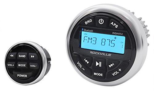 clarion marine stereos Rockville RGHR2 Marine Gauge Hole Receiver W Bluetooth USB, Radio + Wired Remote