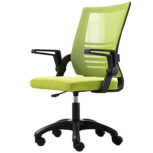 N&O Renovierungshaus Schlafzimmer Mesh Computer Bürostuhl mit Lendenwirbelstütze Drehbarer Computerstuhl Latexkissen mit hochklappbaren Armlehnen Schreibtischstühle (Farbe : Grün)