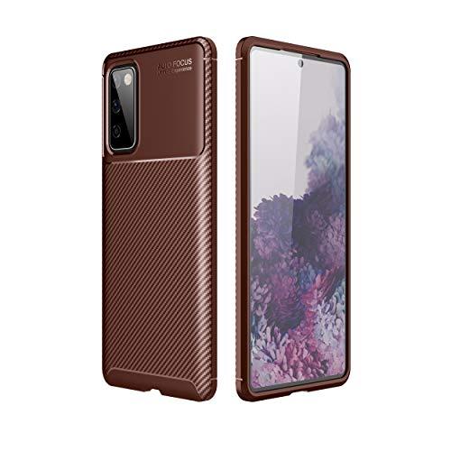 NEINEI Funda para Samsung Galaxy A22 5G,Carcasa Silicona de Fibra de Carbono,Diseño Exterior de Escarabajo,Ultradelgado TPU Shockproof Case Cover-Marrón