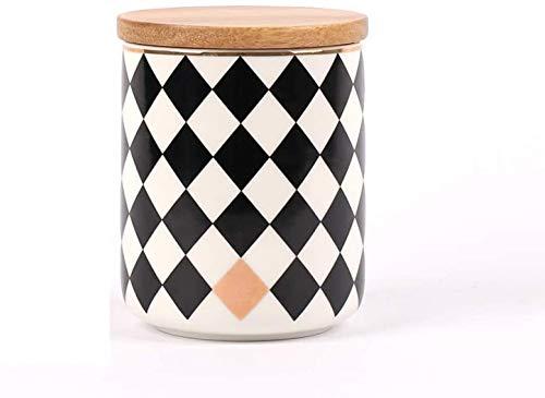 Set en céramique avec Canister bambou couvercle café parfait thé Alimentation stockage sucre candi Bidons - Design moderne pot en porcelaine de cuisine Container, blanc de forme ronde et noire de 3 le