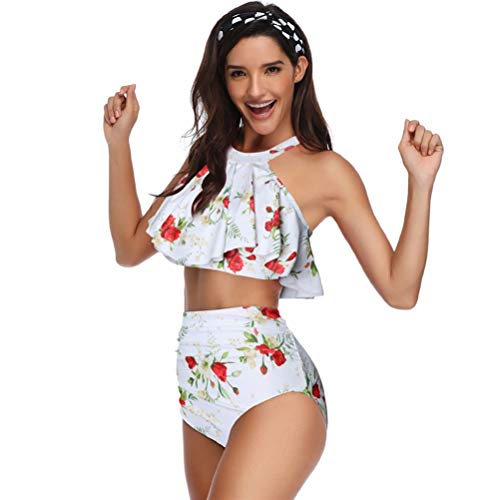 FreshWater Traje de baño de cintura alta para madre e hija, traje de baño de dos piezas, traje de baño familiar a juego para mujeres y niñas
