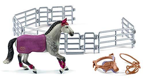 3in1-SET Schleich Pferde Horse Club - Trakehner Stute mit Decke + Sattel und Weidezaun 42456 + 42165 + 42487