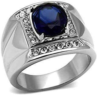 Mens Sapphire Stainless Steel Ring