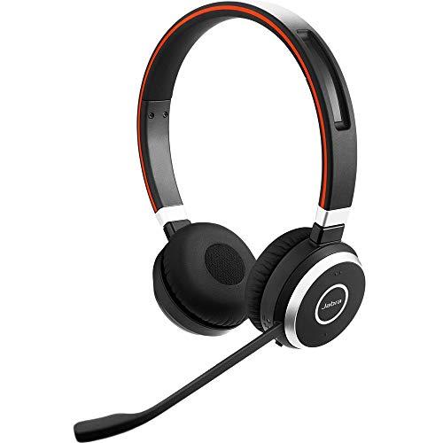Jabra Evolve 65 UC Stereo Wireless Bluetooth Headset / Music Headphones Includes Link 360 (U.S. Retail Packaging) (Renewed)