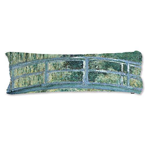 BONNIU Funda Decorativa Cojin con Cremallera 50X135 cm Protectores Almohada Terciopelo Paisaje Dakimakura Cover - Monet - Lirios De Agua Y Puente Japonés