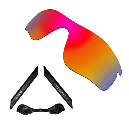 HKUCO For Oakley Radarlock Path Red Polarized Replacement Lenses And Black Earsocks Rubber Kit