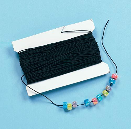 Baker Ross Schwarzes Gummiband - für Kinder zum Basteln für Perlenkunst und Schmuck - Spule mit 30 m