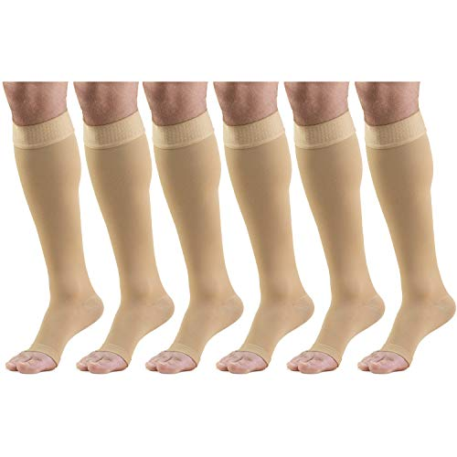 20-30 mmHg Compression Stockings for Men and Women, Knee High Length, Dot-Top, Open Toe Beige X-Large (6 Pairs)