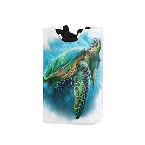 HousingMart 22.7'(H) Collapsible Laundry Hamper Watercolor Sea Turtle Laundry Basket Organizer Large with Handle Foldable Clothes Hamper