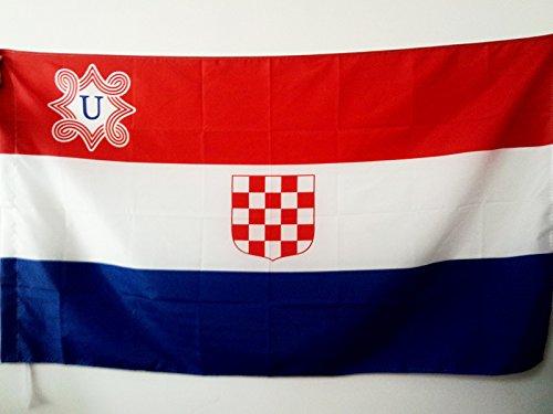 AZ FLAG Flagge UNABHÄNGIGER Staat Kroatien 1941-1945 150x90cm - USK Fahne 90 x 150 cm Scheide für Mast - flaggen Top Qualität