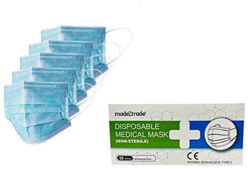 50er Spenderbox 3-lagige Einweg Mund- Nasen- OP-Masken mit CE & EN14683 Typ II Zertifikat - Mit Nasenbügel - Frei von Latex und Fiberglas