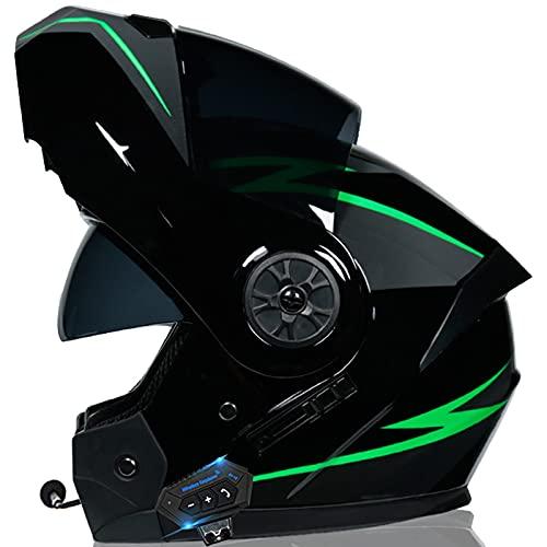 ZLYJ Casco Bluetooth Integrato Flip-Up Microfono Integrato Casco Integrale Omologato ECE Casco da Motociclista con Doppia Visiera Antiappannamento Risposta Automatica J,M(57-58cm)