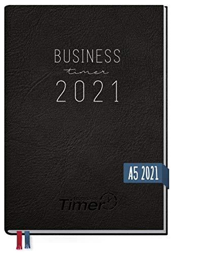 Chäff Business-Timer 2021 A5 schwarz | Wochenplaner, Wochenkalender, Organizer, Terminkalender für perfektes Zeitmanagement | nachhaltig & klimaneutral