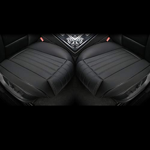 EDEAEDEALYN (2PCS) Leatherette Seat Covers Car Front Seat Protector Car Seat Covers with Side Flaps and Leg Rest (Deep20.86 inch × Width20.86 inch × Thick 0.4 inch) (with Leg Rest - Black)