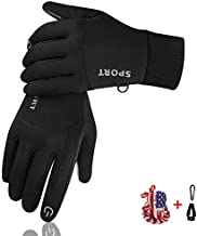 Winter Gloves for Men Women, Touchscreen Cold Weather Thin Warm Gloves Windproof Anti-Slip goves for Cycling Running ,Hiking ,Climbing (Large)