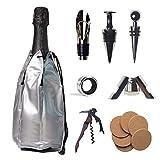 byoeko Set de 8 Accesorios para Vino (Enfriador, saca Corcho, tapón, Anillo de Goteo, tapón para Botellas de Champagne, vertedor/aireador, posa Vasos Redondo)