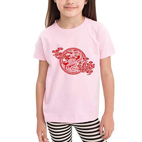 Chinese Dragon Paper Cutting Camisetas gráficas para niñas Adolescentes, niños y niñas, Camiseta de Manga Corta, Camisetas de algodón, Camisetas para niños, Tops 2-6t