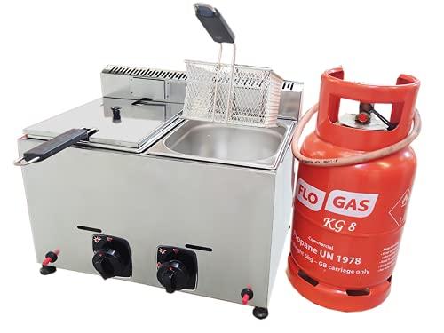 Friteuse de marque TurcoBazaar - 10 litres - Propane industriel LPG - Certifié CE (10 L)