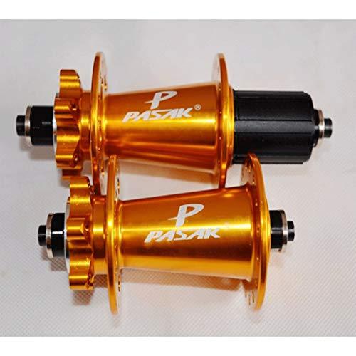 MZPWJD Bujes De Bicicleta Freno Disco MTB 32H Bujes Delanteros Traseros Rodamiento Sellado con Palanca Liberación Rápida 7-11 Velocidad Casete (Color : Gold)