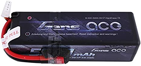 Gens ace 11.1V 5000mAh 3S 50C HardCase LiPo Battery with Deans Plug for ARRMA Aquacraft Associated Axial Duratrax ECX Exceed HPI Helion Hot Bodies Kyosho Losi Ofna Pro Boat Schumacher Vaterra