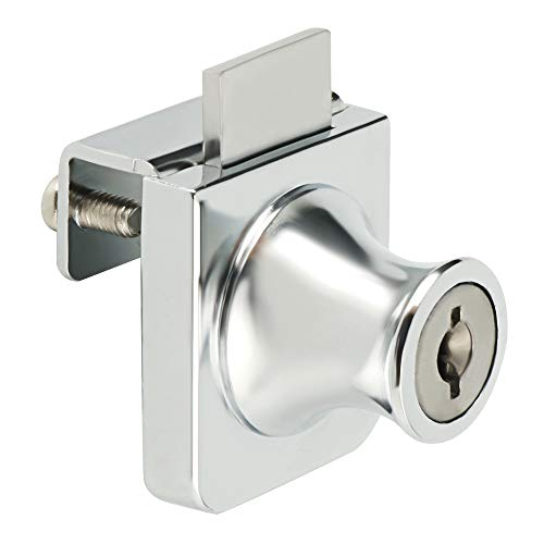 Sayayo Cabinet Locks Glass Door Lock with Keys, Single Display Showcase Lock for 5-8mm Glass, No Drilling Required, Polished Finish, EBLMS407-C