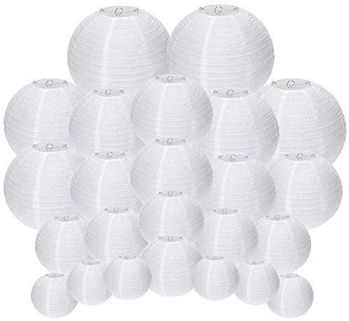 UNIQOOO - Juego de 24 farolillos de papel blanco para colgar, varios tamaños, reutilizables, decorativos, japoneses, de papel chino,...