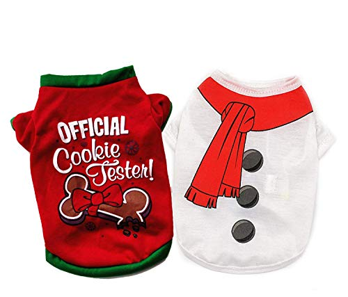 Ollypet Pack of 2 Christmas Clothes for Dogs - Warm Soft 100% Cotton Pet Santa & Snowman Costume - Festive Christmas Themed Dog Sweaters for Dogs and Cats, Autumn & Winter XS