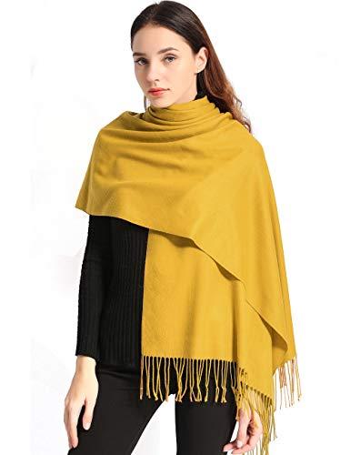 Pañuelo amarillo con tacto Cachemira para mujer