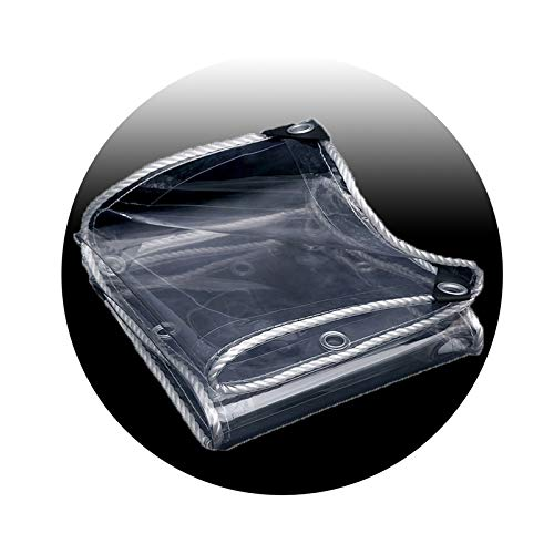 Lona Impermeable Lona de Protección, Toldo impermeable y transparente, con ojales - Lona resistente a la intemperie y plegable para proteger las plantas, Duradera 350 g/m² 1.5m x 1.8m/5ft x 6ft