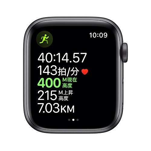 AppleWatchSeries5(GPSモデル)-44mmスペースグレイアルミニウムケースとブラックスポーツバンド-S/M&M/L