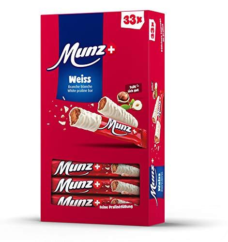 Schweizer Schokolade | MUNZ Prügeli Weiss | Branches | 33 Praliné Schokoladenriegel á 23g im Thekendisplay | 759g Großpackung | Maestrani Schokolade | Glutenfrei