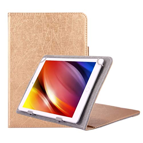 JIANGHONGYAN Universal Trazos Textura Horizontal Flip Case de Cuero con Soporte for 7 Pulgadas Tablet PC (Color : Gold)