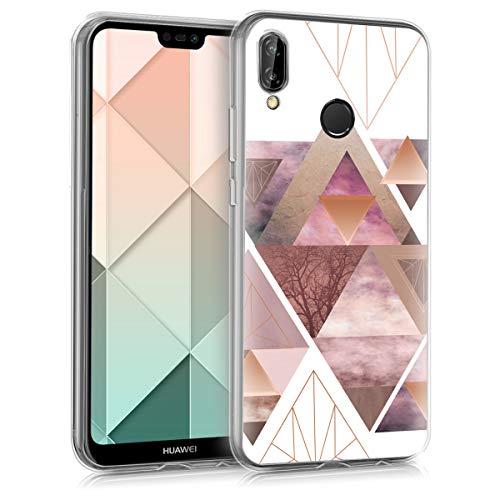 kwmobile Hülle kompatibel mit Huawei P20 Lite - Handyhülle Silikon Case - Glory Dreieck Muster Rosa Rosegold Weiß