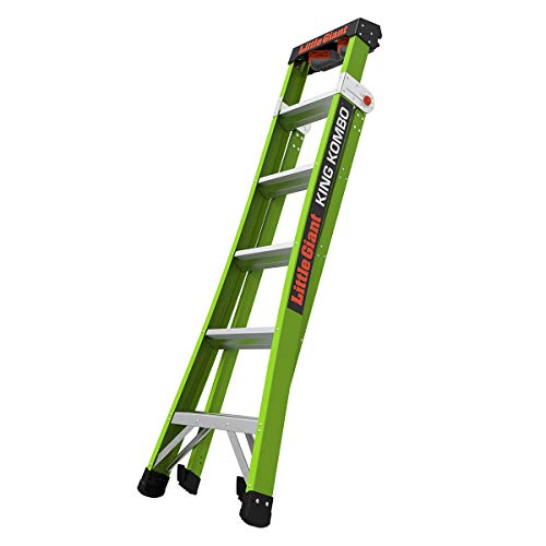 Little Giant Ladder Systems 13610-001 Green King Kombo Pro 6' A frame 10' Extension-Hi-Viz Type 1AA, 6 Ft
