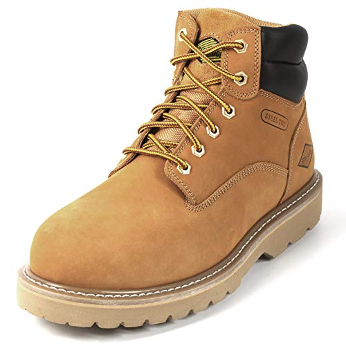 "6"" Steel Toe Work Boots - Timberland Style - Oil Slip Resistant - Wheat (9.5)"
