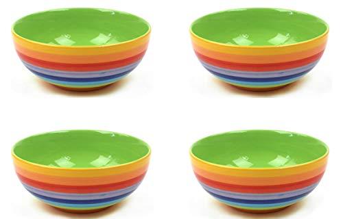 Windhorse, set di 4 ciotole in ceramica, motivo: righe arcobaleno