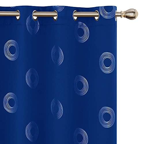 UMI. by Amazon Cortinas Salon Opaca de Dibujos Rquillos con Ollaos 2 Piezas 140x175cm Azul Oscuro